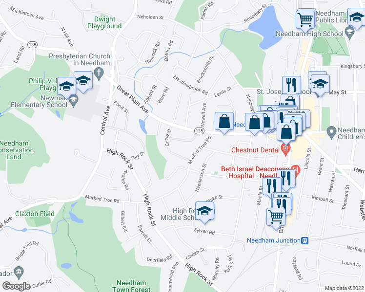 map of restaurants, bars, coffee shops, grocery stores, and more near 36 Rivard Road in Needham