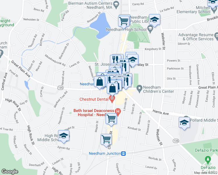 map of restaurants, bars, coffee shops, grocery stores, and more near 1063 Great Plain Ave in Needham