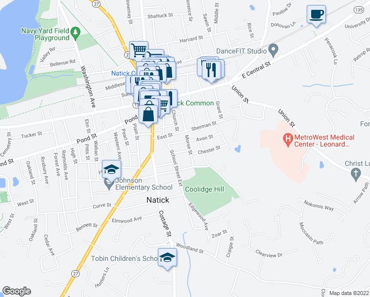 map of restaurants, bars, coffee shops, grocery stores, and more near 3 Allen Street in Natick