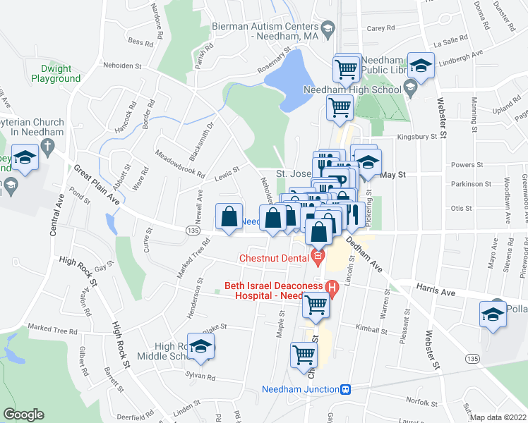 map of restaurants, bars, coffee shops, grocery stores, and more near 20 Washburn Avenue in Needham