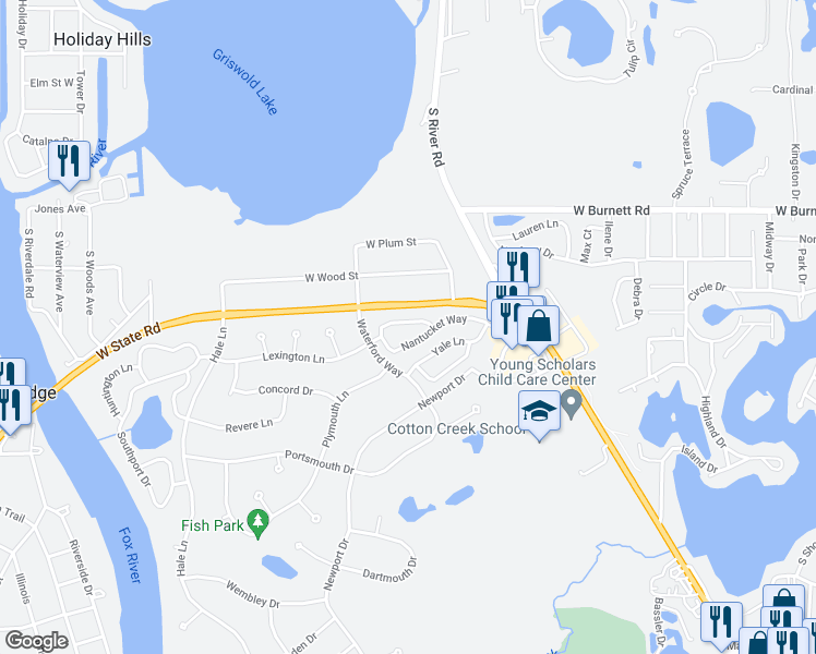 map of restaurants, bars, coffee shops, grocery stores, and more near 707 Brittany Way in Island Lake