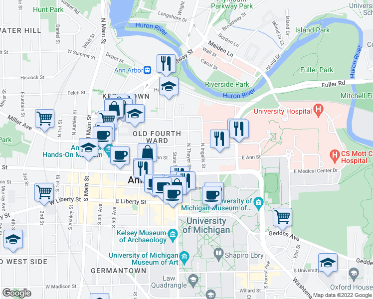 map of restaurants, bars, coffee shops, grocery stores, and more near 217 North Thayer Street in Ann Arbor