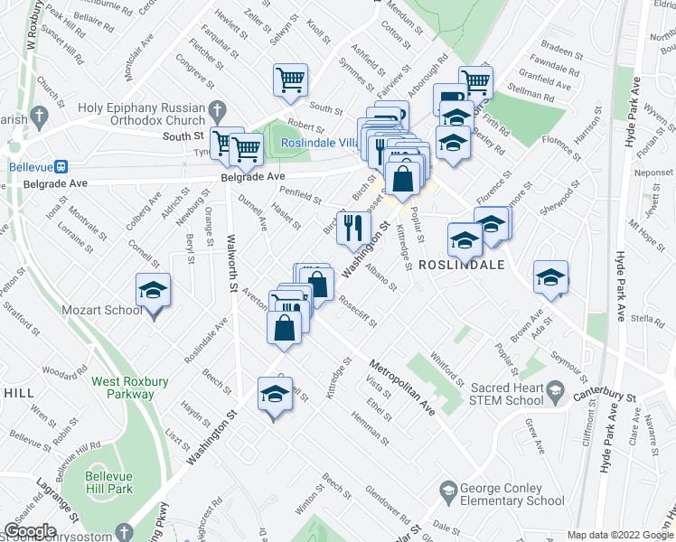 map of restaurants, bars, coffee shops, grocery stores, and more near 11 Hayes Road in Boston