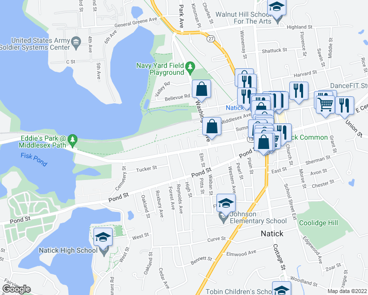 map of restaurants, bars, coffee shops, grocery stores, and more near in Natick