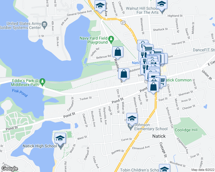 map of restaurants, bars, coffee shops, grocery stores, and more near 50-98 Elmwood Avenue in Natick