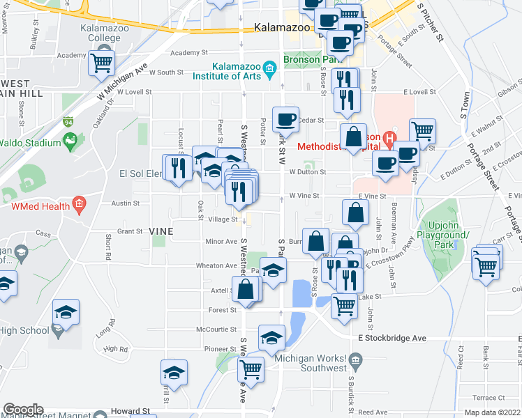 map of restaurants, bars, coffee shops, grocery stores, and more near 442 Ranney Street in Kalamazoo