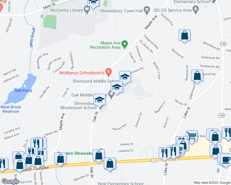 map of restaurants, bars, coffee shops, grocery stores, and more near 530 Boston Turnpike in Shrewsbury