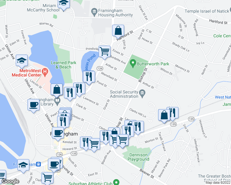 map of restaurants, bars, coffee shops, grocery stores, and more near 165 Grant Street in Framingham