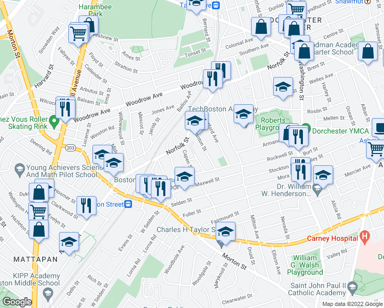 map of restaurants, bars, coffee shops, grocery stores, and more near 23 Ufford Street in Boston