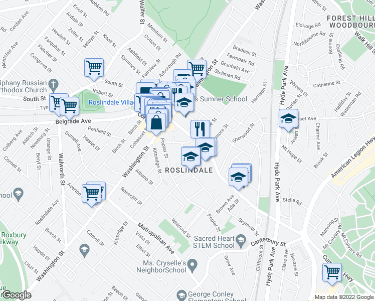 map of restaurants, bars, coffee shops, grocery stores, and more near 16 Hawthorne St in Boston