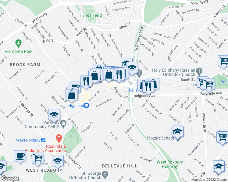 map of restaurants, bars, coffee shops, grocery stores, and more near 446 Belgrade Avenue in West Roxbury