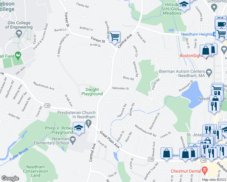 map of restaurants, bars, coffee shops, grocery stores, and more near 15 Nehoiden Street in Needham