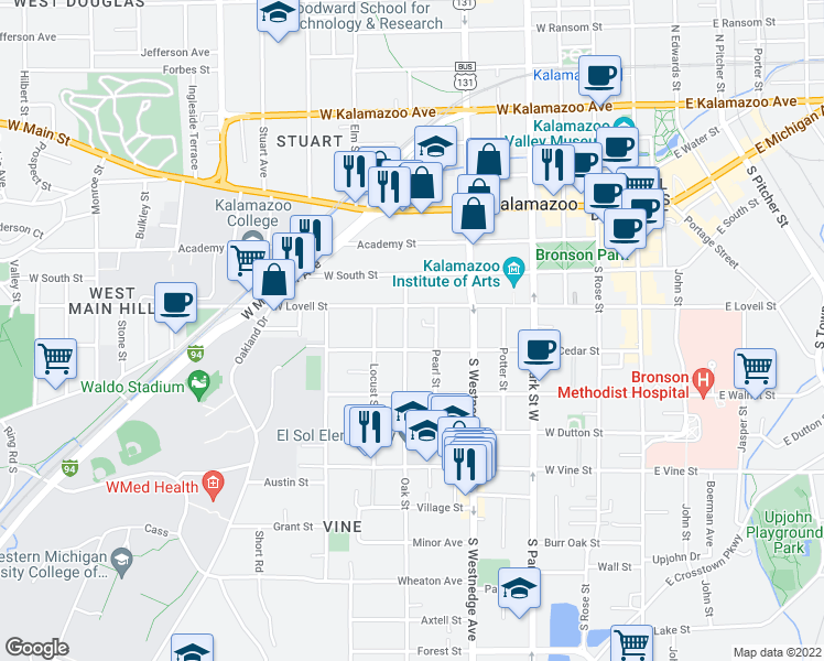 map of restaurants, bars, coffee shops, grocery stores, and more near 421 Oak Street in Kalamazoo