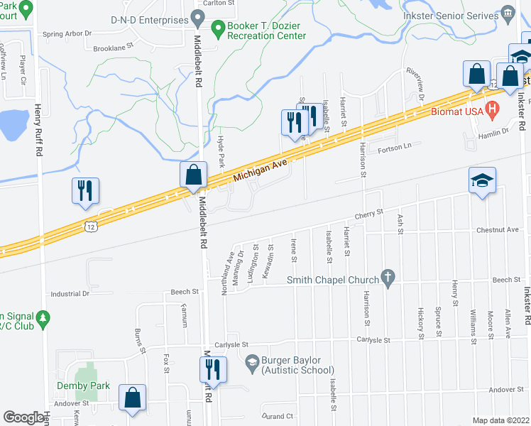 map of restaurants, bars, coffee shops, grocery stores, and more near 28843 Cherry Street in Inkster