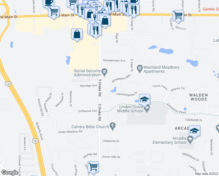 map of restaurants, bars, coffee shops, grocery stores, and more near 555 South Drake Road in Kalamazoo