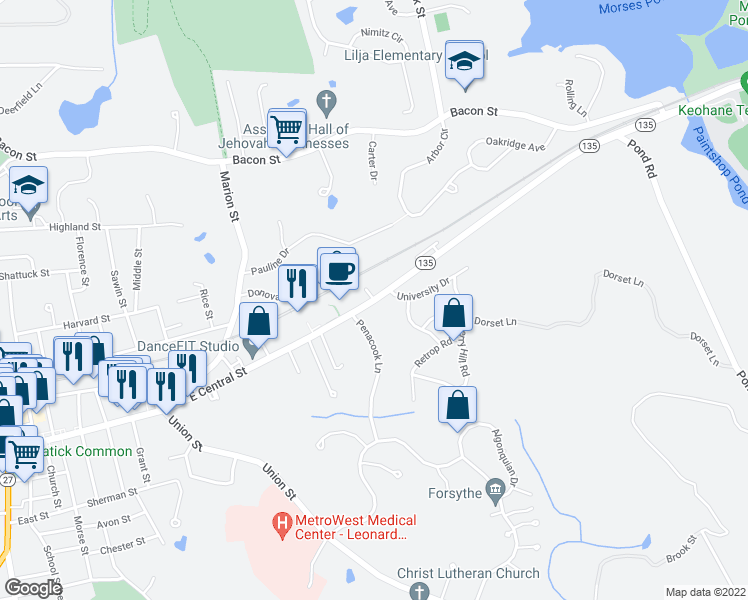 map of restaurants, bars, coffee shops, grocery stores, and more near 4 Guys Way in Natick
