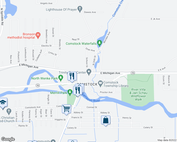 map of restaurants, bars, coffee shops, grocery stores, and more near 41 School Street in Kalamazoo