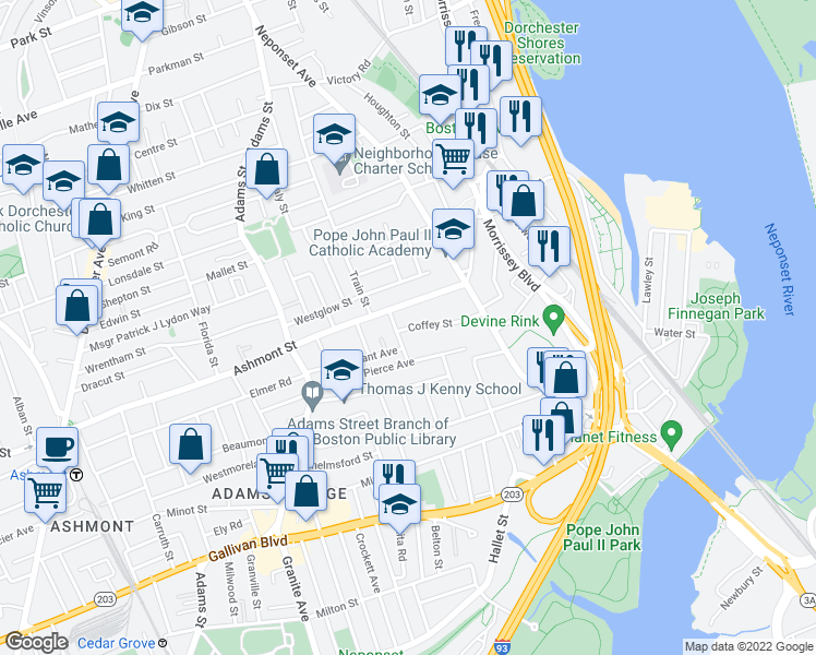 map of restaurants, bars, coffee shops, grocery stores, and more near 10 Coffey Street in Boston