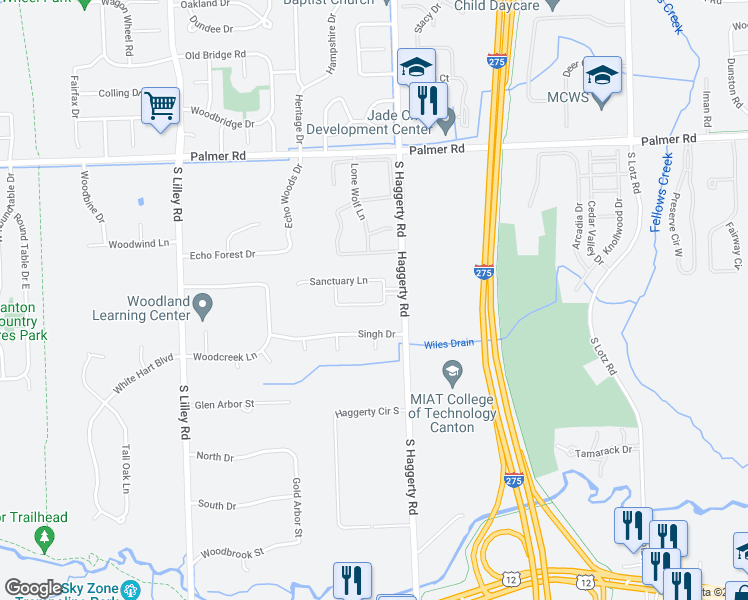 map of restaurants, bars, coffee shops, grocery stores, and more near 2372 Boulder Creek Drive in Canton