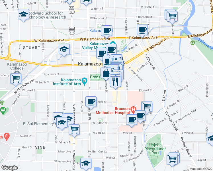 map of restaurants, bars, coffee shops, grocery stores, and more near 346 South Rose Street in Kalamazoo