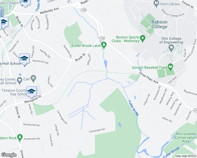 map of restaurants, bars, coffee shops, grocery stores, and more near 46 Eisenhower Circle in Wellesley