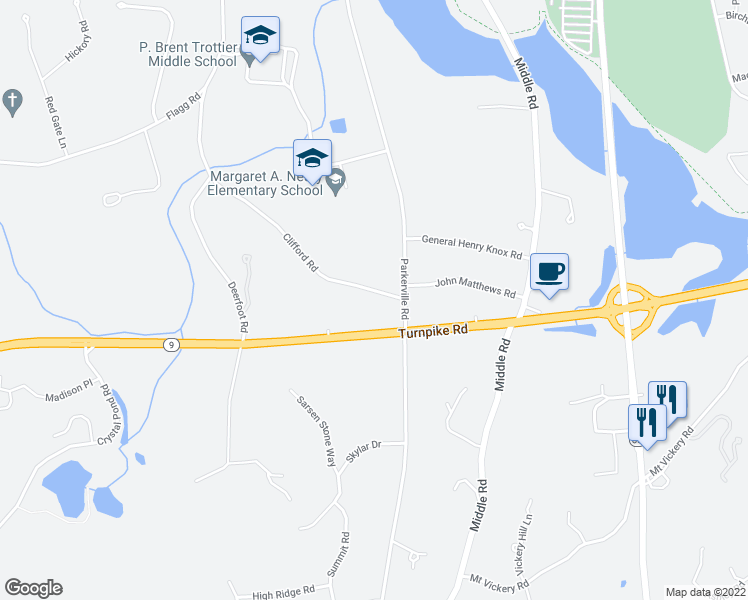 map of restaurants, bars, coffee shops, grocery stores, and more near 35 Clifford Street in Southborough