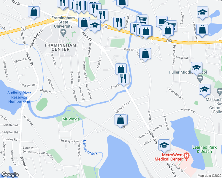 map of restaurants, bars, coffee shops, grocery stores, and more near 40 River Street in Framingham
