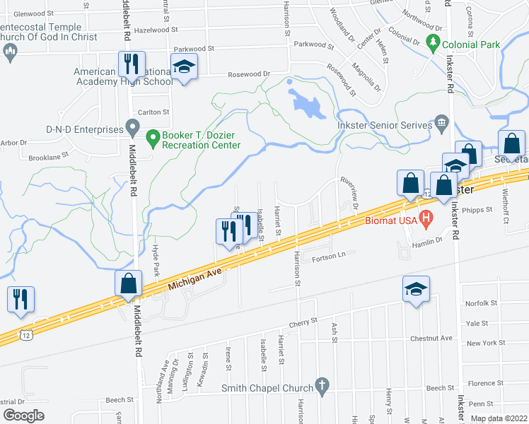 map of restaurants, bars, coffee shops, grocery stores, and more near 2261 Isabelle Street in Inkster