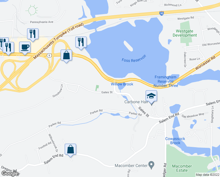 map of restaurants, bars, coffee shops, grocery stores, and more near 1610 Worcester Road in Framingham