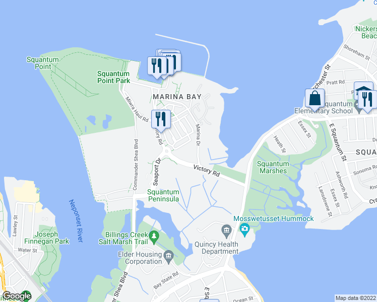 map of restaurants, bars, coffee shops, grocery stores, and more near 100 Marina Drive in Quincy