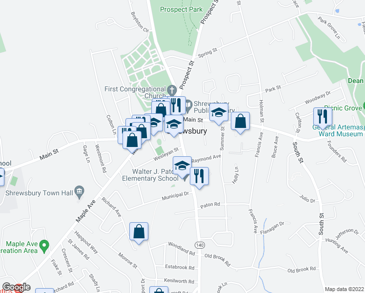 map of restaurants, bars, coffee shops, grocery stores, and more near in Shrewsbury