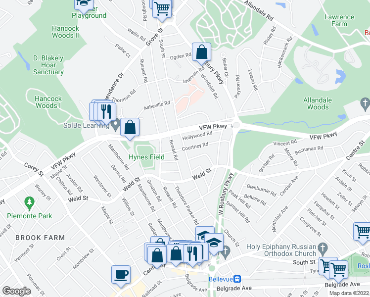 map of restaurants, bars, coffee shops, grocery stores, and more near Church Street & Courtney Road in Boston