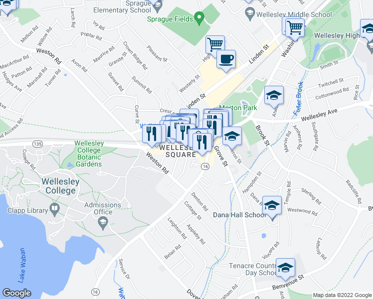 map of restaurants, bars, coffee shops, grocery stores, and more near 3-11 Leighton Road in Wellesley