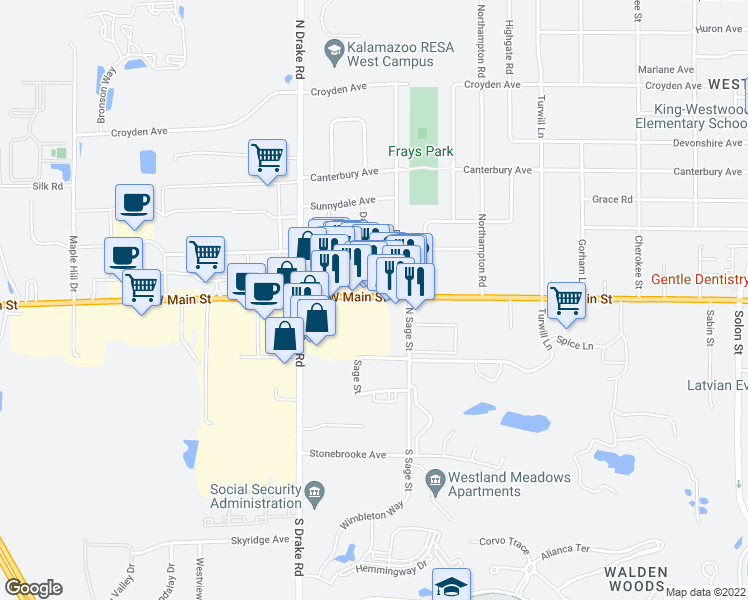 map of restaurants, bars, coffee shops, grocery stores, and more near 4551-4571 West Main Street in Kalamazoo