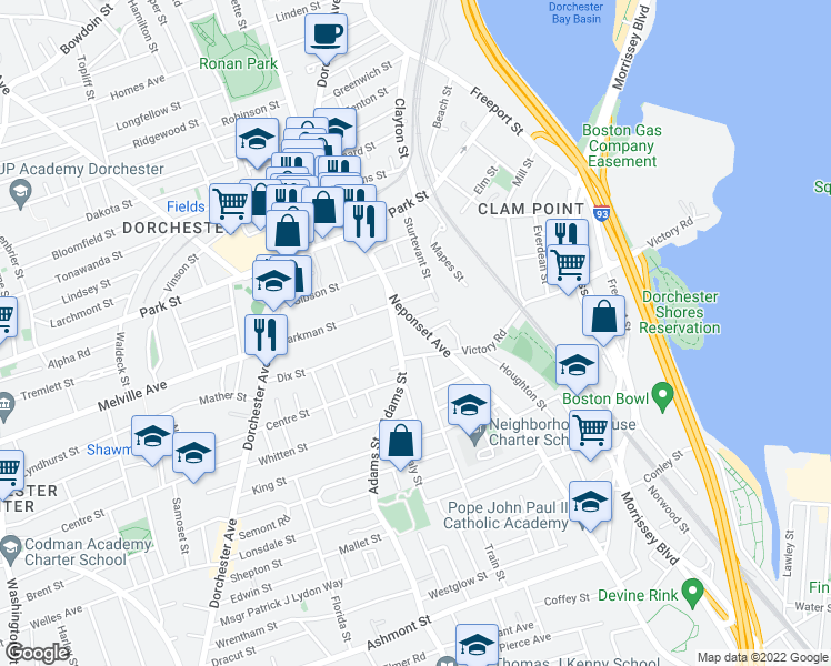 map of restaurants, bars, coffee shops, grocery stores, and more near 23 Neponset Avenue in Boston