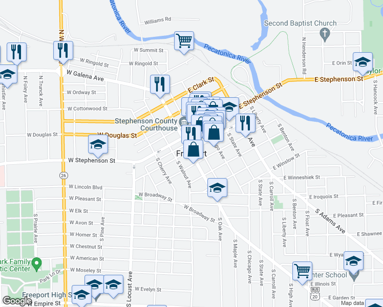 map of restaurants, bars, coffee shops, grocery stores, and more near in Freeport