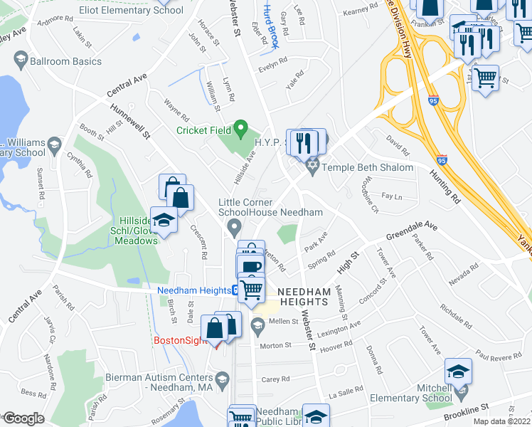 map of restaurants, bars, coffee shops, grocery stores, and more near 757 Highland Avenue in Needham