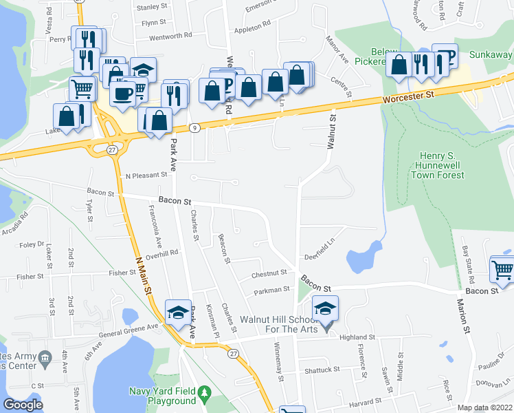 map of restaurants, bars, coffee shops, grocery stores, and more near 217 Bacon Street in Natick
