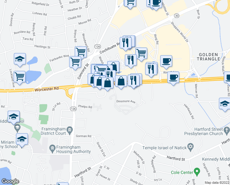 map of restaurants, bars, coffee shops, grocery stores, and more near 2-30 Dinsmore Avenue in Framingham