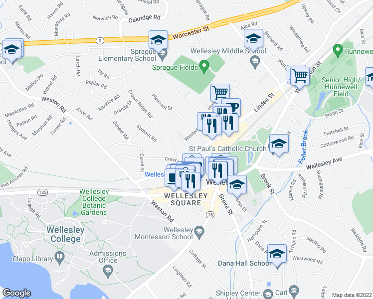 map of restaurants, bars, coffee shops, grocery stores, and more near 5 Delanson Circle in Wellesley