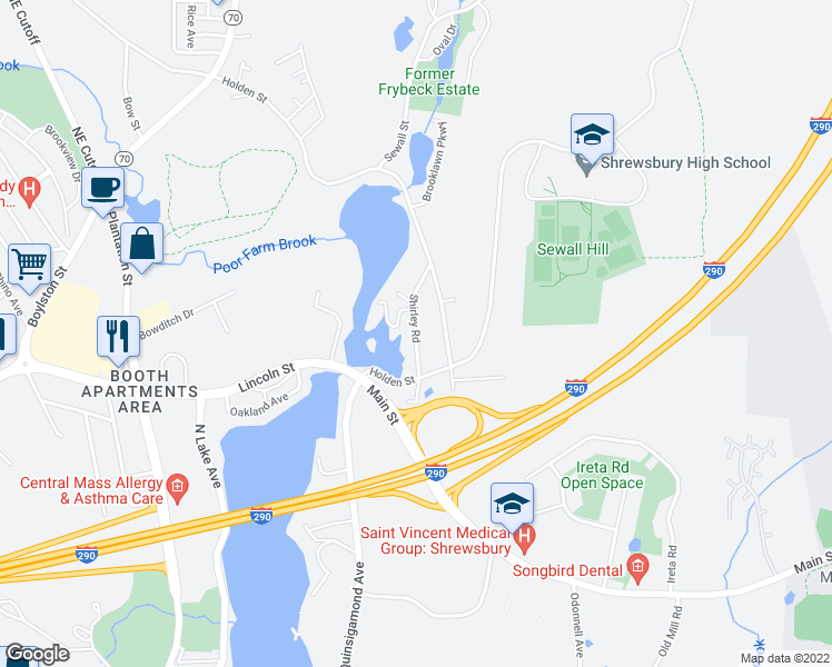 map of restaurants, bars, coffee shops, grocery stores, and more near Shirley Road in Shrewsbury