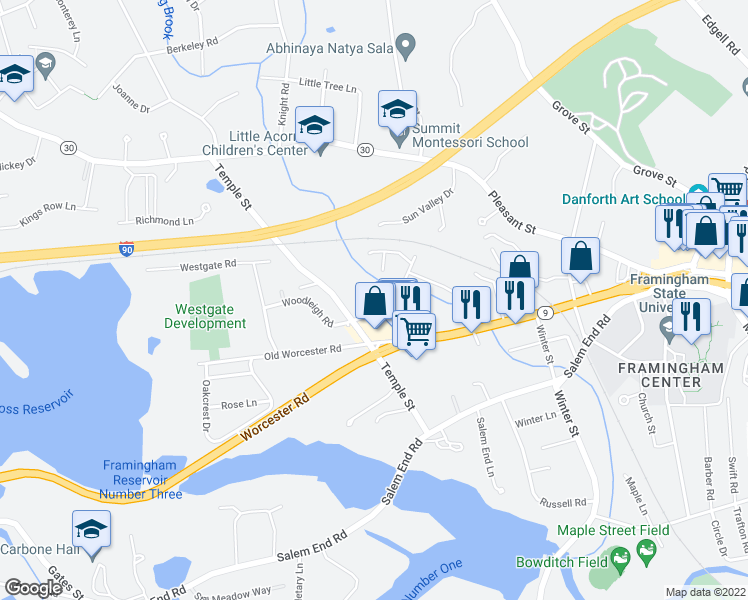 map of restaurants, bars, coffee shops, grocery stores, and more near 3 Reni Lane in Framingham