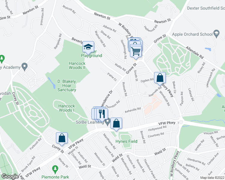 map of restaurants, bars, coffee shops, grocery stores, and more near Independence Dr & Gerry Rd in Brookline