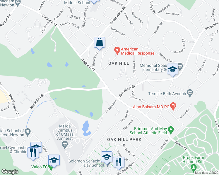 map of restaurants, bars, coffee shops, grocery stores, and more near 744 Dedham Street in Newton