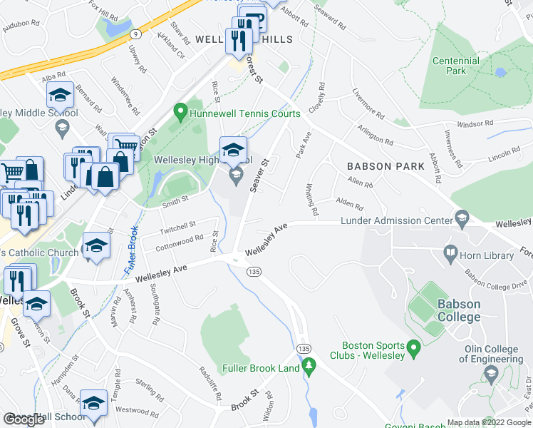 map of restaurants, bars, coffee shops, grocery stores, and more near 84 Hopkinson Street in Wellesley