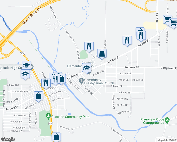 map of restaurants, bars, coffee shops, grocery stores, and more near 105 Van Buren Street Northeast in Cascade