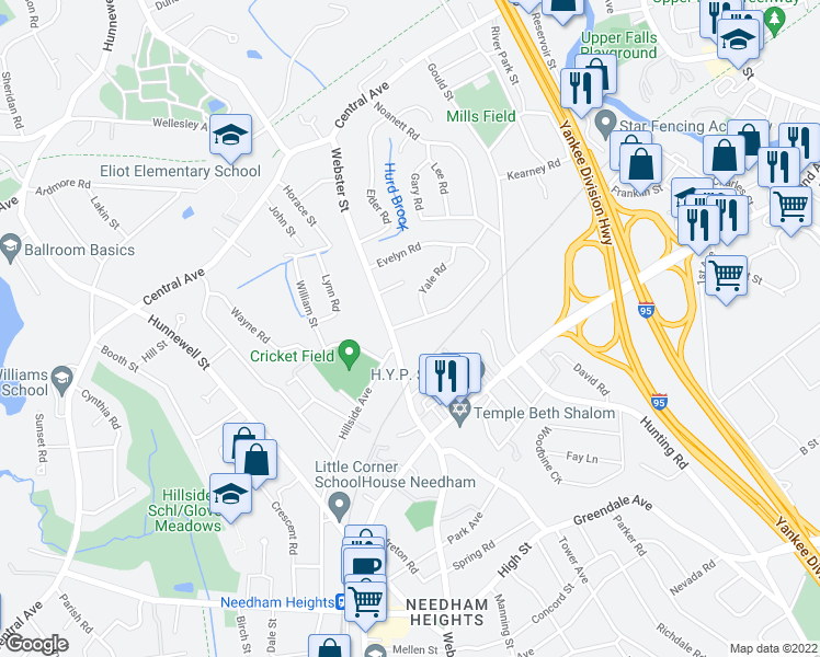 map of restaurants, bars, coffee shops, grocery stores, and more near 17 Evelyn Road in Needham