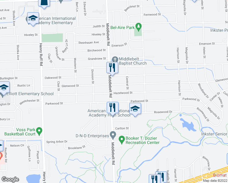 map of restaurants, bars, coffee shops, grocery stores, and more near 1289 Middlebelt Road in Inkster