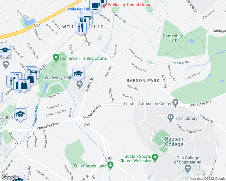 map of restaurants, bars, coffee shops, grocery stores, and more near 36 Whiting Road in Wellesley