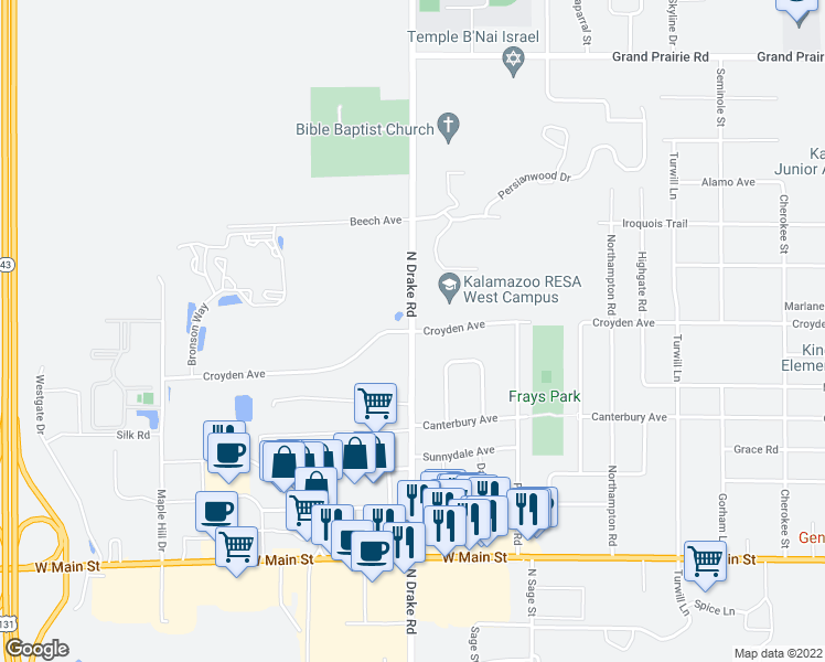 map of restaurants, bars, coffee shops, grocery stores, and more near 5200 Croyden Avenue in Kalamazoo Township